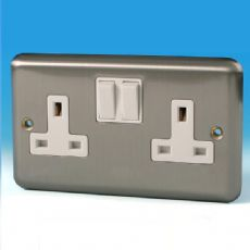 Varilight 2 Gang 13 Amp Switched Electrical Plug Socket Brushed Matt Chrome White Insert XS5W